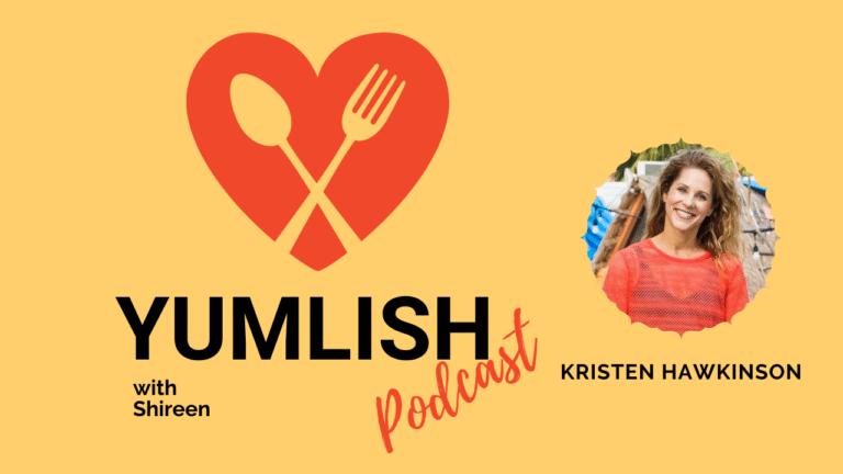 Kristen and the podcast logo