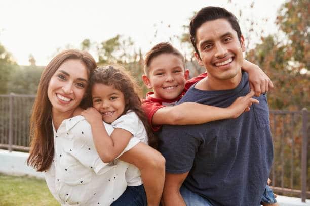 Latino family photo of four
